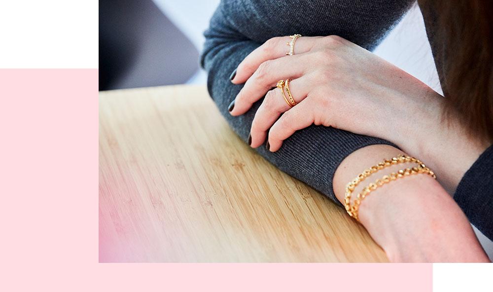 Femtastics-Pandora-Ringe-Gold-Armband
