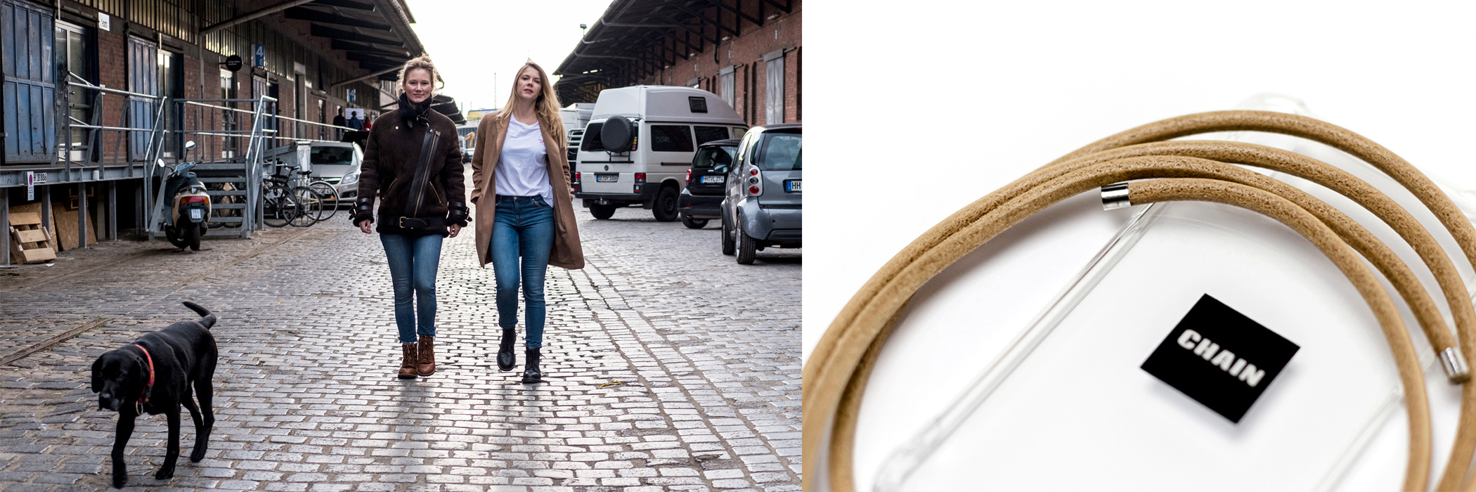 Lena und Jana gründeten im Sommer 2018 das Hamburger Handyketten-Label Chain Products. Credit: Chain Products