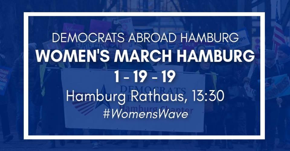 Seid ein Teil des nächsten Frauenmarschs. Credit: Democrats Abroad Hamburg